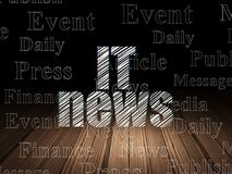News concept: IT News in grunge dark room. News concept: Glowing text IT News in grunge dark room with Wooden Floor, black background with  Tag Cloud Royalty Free Stock Image