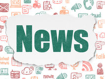 News concept: News on Torn Paper background. News concept: Painted green text News on Torn Paper background with  Hand Drawn News Icons, 3d render Stock Images