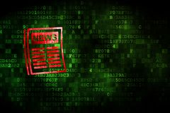 News concept: Newspaper on digital background. News concept: pixelated Newspaper icon on digital background, empty copyspace for card, text, advertising royalty free stock photos