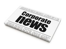 News concept: newspaper headline Corporate News. On White background, 3D rendering Stock Photography