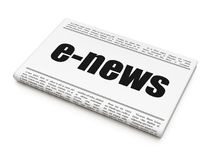 News concept: newspaper headline E-news. On White background, 3D rendering Royalty Free Stock Photos