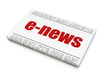 News concept: newspaper headline E-news. On White background, 3D rendering Stock Image