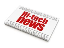 News concept: newspaper headline Hi-tech News. On White background, 3D rendering Royalty Free Stock Photo