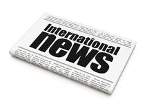 News concept: newspaper headline International News. On White background, 3D rendering Royalty Free Stock Images