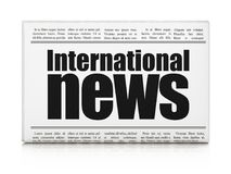 News concept: newspaper headline International News. On White background, 3D rendering Royalty Free Stock Photos
