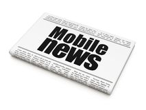 News concept: newspaper headline Mobile News. On White background, 3D rendering Royalty Free Stock Photos