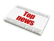 News concept: newspaper headline Top News. On White background, 3D rendering Royalty Free Stock Images