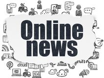 News concept: Online News on Torn Paper background. News concept: Painted black text Online News on Torn Paper background with  Hand Drawn News Icons Royalty Free Stock Photos