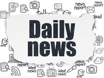 News concept: Daily News on Torn Paper background. News concept: Painted black text Daily News on Torn Paper background with  Hand Drawn News Icons Royalty Free Stock Photography