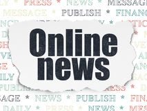 News concept: Online News on Torn Paper background. News concept: Painted black text Online News on Torn Paper background with  Tag Cloud Royalty Free Stock Photo