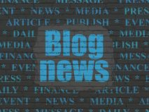 News concept: Blog News on wall background. News concept: Painted blue text Blog News on Black Brick wall background with  Tag Cloud Stock Photo