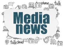 News concept: Media News on Torn Paper background. News concept: Painted blue text Media News on Torn Paper background with  Hand Drawn News Icons Royalty Free Stock Photography