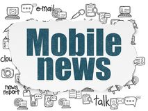 News concept: Mobile News on Torn Paper background. News concept: Painted blue text Mobile News on Torn Paper background with  Hand Drawn News Icons Royalty Free Stock Photography