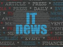 News concept: IT News on wall background. News concept: Painted blue text IT News on Black Brick wall background with  Tag Cloud Stock Photos