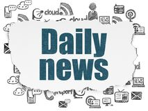 News concept: Daily News on Torn Paper background. News concept: Painted blue text Daily News on Torn Paper background with  Hand Drawn News Icons Stock Image