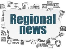 News concept: Regional News on Torn Paper background. News concept: Painted blue text Regional News on Torn Paper background with  Hand Drawn News Icons Stock Image
