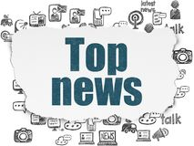 News concept: Top News on Torn Paper background. News concept: Painted blue text Top News on Torn Paper background with  Hand Drawn News Icons Royalty Free Stock Images