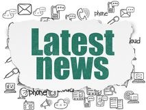 News concept: Latest News on Torn Paper background. News concept: Painted green text Latest News on Torn Paper background with  Hand Drawn News Icons Stock Image
