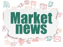 News concept: Market News on Torn Paper background. News concept: Painted green text Market News on Torn Paper background with Scheme Of Hand Drawn News Icons Royalty Free Stock Images