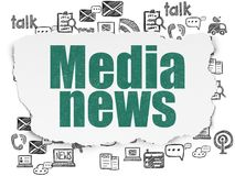 News concept: Media News on Torn Paper background. News concept: Painted green text Media News on Torn Paper background with  Hand Drawn News Icons Stock Images