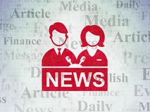 News concept: Anchorman on Digital Data Paper background Stock Photos