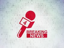 News concept: Breaking News And Microphone on Digital Data Paper background. News concept: Painted red Breaking News And Microphone icon on Digital Data Paper Royalty Free Stock Photography