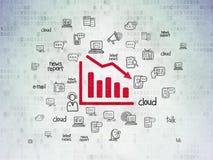 News concept: Decline Graph on Digital Data Paper background. News concept: Painted red Decline Graph icon on Digital Data Paper background with Hand Drawn News vector illustration