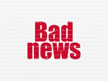 News concept: Bad News on wall background. News concept: Painted red text Bad News on White Brick wall background Royalty Free Stock Photos