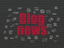 News concept: Blog News on wall background. News concept: Painted red text Blog News on Black Brick wall background with  Hand Drawn News Icons Royalty Free Stock Photography