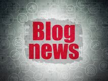 News concept: Blog News on Digital Data Paper background. News concept: Painted red text Blog News on Digital Data Paper background with  Scheme Of Hand Drawn Stock Images