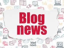 News concept: Blog News on Torn Paper background. News concept: Painted red text Blog News on Torn Paper background with  Hand Drawn News Icons Royalty Free Stock Photos