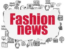 News concept: Fashion News on Torn Paper background. News concept: Painted red text Fashion News on Torn Paper background with  Hand Drawn News Icons Stock Photography
