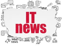 News concept: IT News on Torn Paper background. News concept: Painted red text IT News on Torn Paper background with  Hand Drawn News Icons Stock Photography