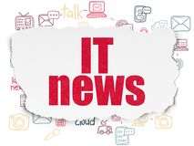 News concept: IT News on Torn Paper background. News concept: Painted red text IT News on Torn Paper background with Scheme Of Hand Drawn News Icons Royalty Free Stock Photos