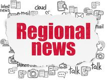 News concept: Regional News on Torn Paper background. News concept: Painted red text Regional News on Torn Paper background with  Hand Drawn News Icons Stock Images