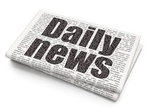 News concept: Daily News on Newspaper background. News concept: Pixelated black text Daily News on Newspaper background, 3D rendering Royalty Free Stock Photos