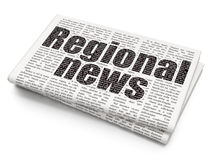 News concept: Regional News on Newspaper background. News concept: Pixelated black text Regional News on Newspaper background, 3D rendering Stock Photos