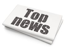 News concept: Top News on Blank Newspaper background. News concept: Pixelated black text Top News on Blank Newspaper background, 3D rendering Stock Image