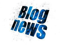 News concept: Blog News on Digital background. News concept: Pixelated blue text Blog News on Digital background Stock Photo