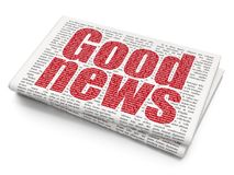 News concept: Good News on Newspaper background. News concept: Pixelated red text Good News on Newspaper background, 3D rendering Royalty Free Stock Photos