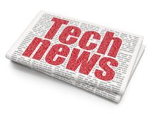 News concept: Tech News on Newspaper background. News concept: Pixelated red text Tech News on Newspaper background, 3D rendering Royalty Free Stock Images