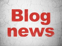 News concept: Blog News on wall background. News concept: Red Blog News on textured concrete wall background Stock Photos