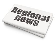 News concept: Regional News on Blank Newspaper background. News concept: Pixelated black text Regional News on Blank Newspaper background, 3D rendering Royalty Free Stock Images