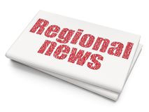 News concept: Regional News on Blank Newspaper background. News concept: Pixelated red text Regional News on Blank Newspaper background, 3D rendering Royalty Free Stock Images