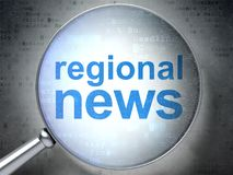 News concept: Regional News with optical glass. News concept: magnifying optical glass with words Regional News on digital background, 3D rendering Royalty Free Stock Images
