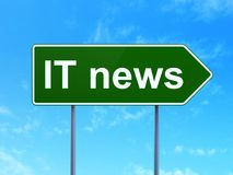 News concept: IT News on road sign background Stock Photo