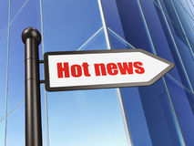 News concept: sign Hot News on Building background Royalty Free Stock Photography