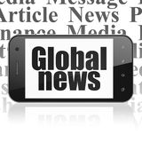 News concept: Smartphone with Global News on display. News concept: Smartphone with black text Global News on display, Tag Cloud background, 3D rendering royalty free stock photo