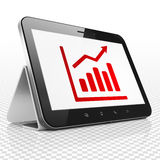 News concept: Tablet Computer with Growth Graph on display. News concept: Tablet Computer with red Growth Graph icon on display, 3D rendering Royalty Free Stock Photography