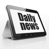 News concept: Tablet Computer with Daily News on display. News concept: Tablet Computer with black text Daily News on display, 3D rendering Stock Photo